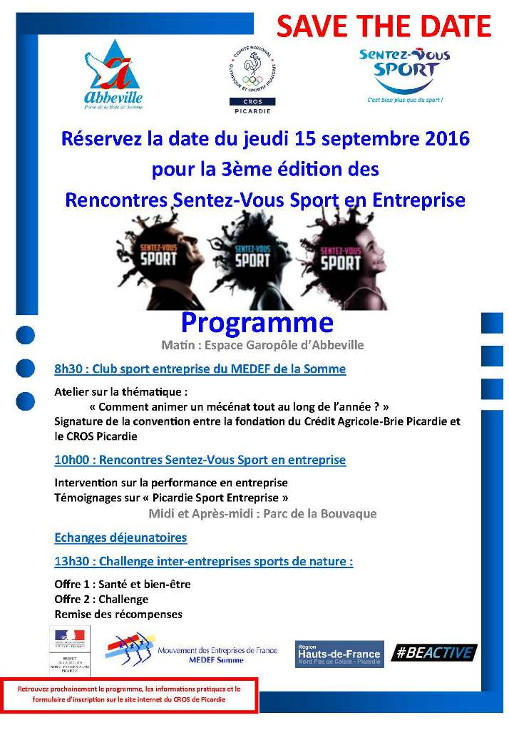 cros picardie save the date rencontres sentez vous sport en entreprise jeudi 15 septembre. Black Bedroom Furniture Sets. Home Design Ideas